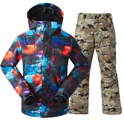 [해외]2018 Gsou 스노우 스키 복 남성 방수 windproof 두꺼운 따뜻한 코트 마운틴 슈트 싱글 더블 보드 스키 의류 남성용/2018 Gsou snow skiing suit male waterproof windproof  thick warm coat moun