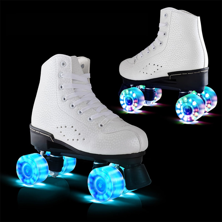 [해외]Japy Roller Skates Double Line Skates Women Female Lady Adult With LED Lighting PU 4 Wheels Two line Skating Shoes Patines/Japy Roller S