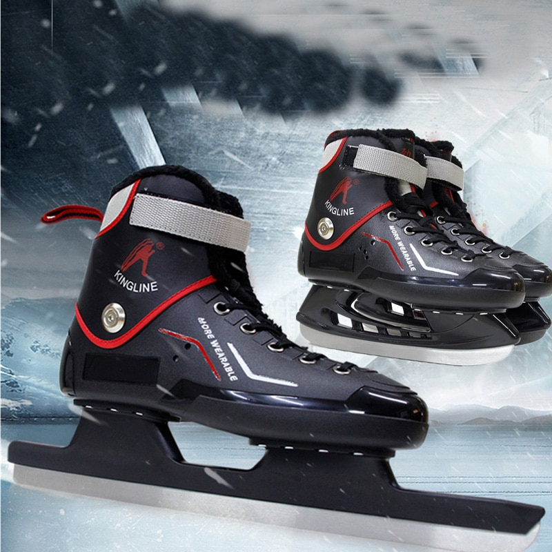 [해외]Winter Adult Teenagers Professional Thermal Thicken Ice Skates Shoes With Ice Hockey Blade Speed Skating Comfortable Beginner/Winter Adu