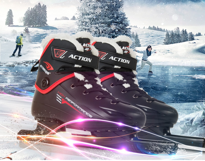 [해외]Adult Teenagers PU Professional Thermal Fleece Warm Thicken Ice Skates Shoes Ice Hockey Figure Blade Speed Skating Beginner/Adult Teenag