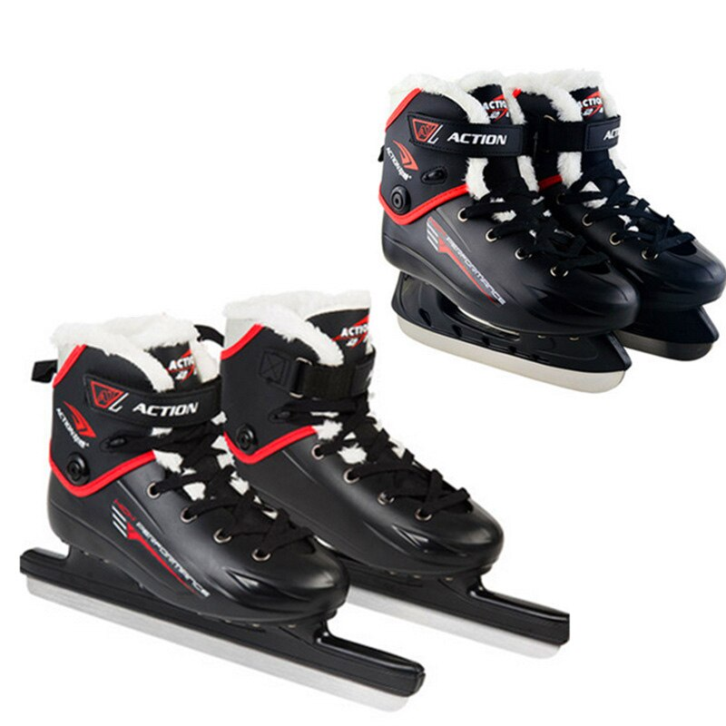 [해외]Winter Adult Teenagers PU Professional Thermal Warm Fleece Thicken Ice Skates Shoes With Ice Hockey Blade Speed Skating Beginner/Winter