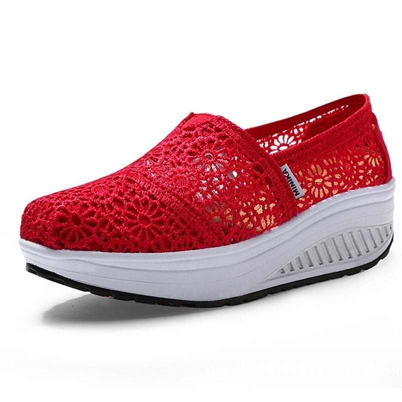 [해외]Hollow Canvas Breathable Platform Wedge Sneakers Shoes Height Increase women sneakers for fitness Toning Shoes/Hollow Canvas Breathable