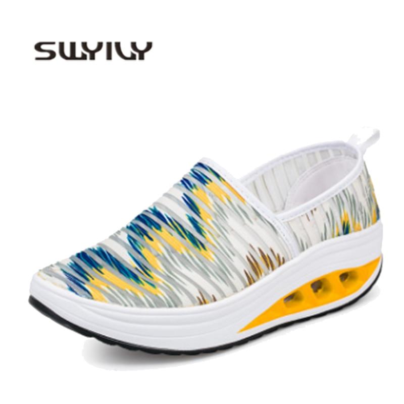 [해외]Swyivy 레이디 슬리밍 신발 피트니스 높이 증가 plarform 스포츠 신발 2019 mujer 여름 통기성 건강 스윙 스니커즈 웨지/Swyivy 레이디 슬리밍 신발 피트니스 높이 증가 plarform 스포츠 신발 2019 mujer 여름