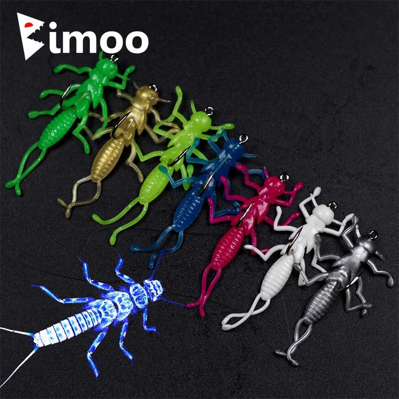 [해외]Bimoo 10PCS 부드러운 스톤 플라이 미끼는 Crappie Stripper 송어 낚시를작은 낚시 LureHook 그린 핑크 화이트 블루 실버/Bimoo 10PCS Soft Stonefly Lure Bait for Crappie Stripper Trout F