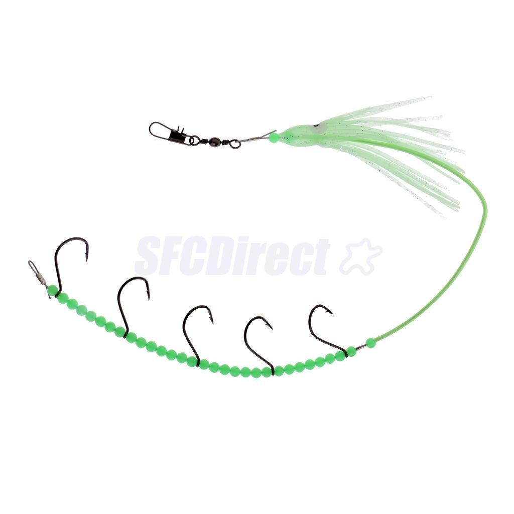 [해외]Fishhooks Steel Rigs Swivel 낚시 태클 루어 Pesca Baits String Fishing Hook5 스몰 후크 빛나는 오징어 스커트 비즈/Fishhooks Steel Rigs Swivel Fishing Tackle Lures Pesca