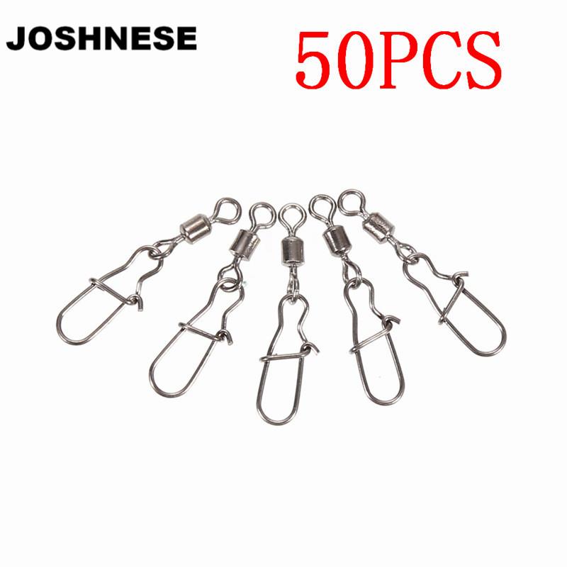 [해외]JOSHNESE 50pcs 2/4/6/7/10 볼베어링 롤링 스위블 멋진 스냅 낚시 스위블 커넥터 스냅 피쉬 후크 태클/JOSHNESE 50pcs 2/4/6/7/10 Ball Bearing Rolling SwivelNice Snap Fishing Swivels