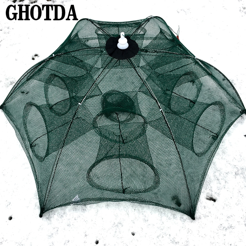 [해외]GHOTDA 4-20 Holes Automatic Fishing Net Shrimp Cage Nylon Foldable Crab Fish Trap/GHOTDA 4-20 Holes Automatic Fishing Net Shrimp Cage Nylon Foldab