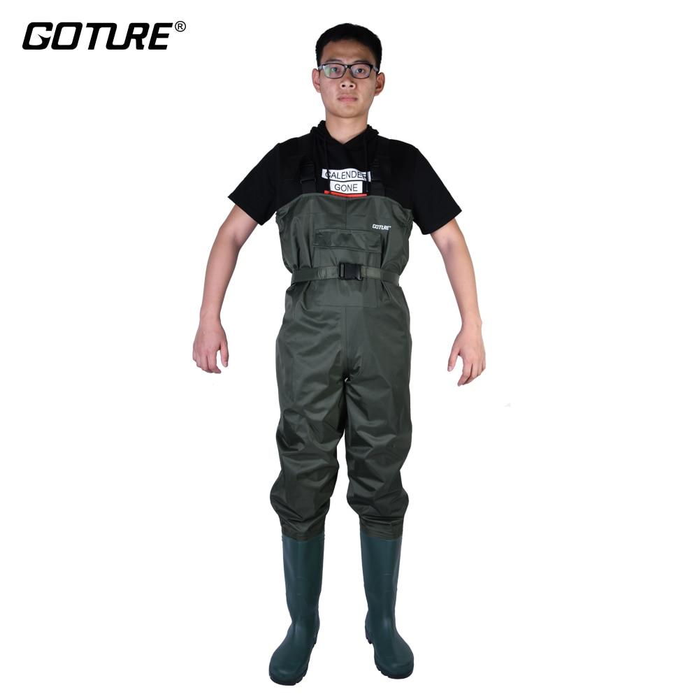 [해외]/Goture Army Green Waterproof Bootfoot Chest Fishing WadersShoes Euro Size 43 44 45 46 Suit For Fly Fishing