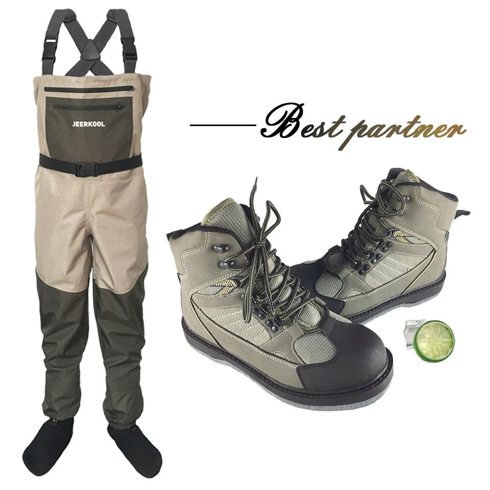 [해외]/Fly Fishing Waders Shoes Felt Sole & Pants Clothes Waterproof Hunting Suit Overalls Wading Upstream Boots Leaking Water Uni