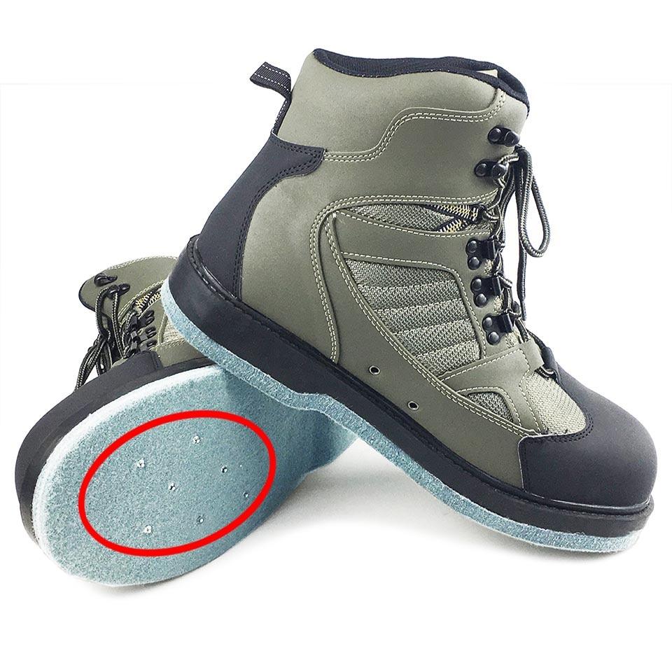 [해외]/Fishing Wading Upstream Shoes Leaking Water Shoe EVA Rubber Anti-Slippery Sole Professional Rock Gray Leather Lace Up Shoes FLP1