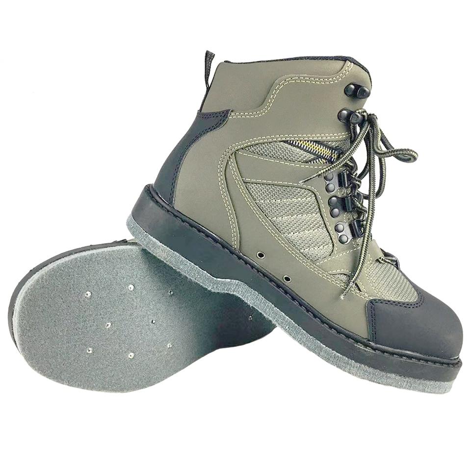 [해외]/Fly Fishing Shoes Wading Upstream Leaking Water Shoes EVA Rubber Anti-Slippery Sole Leather Upper Rock Lace Up Shoes FLP2