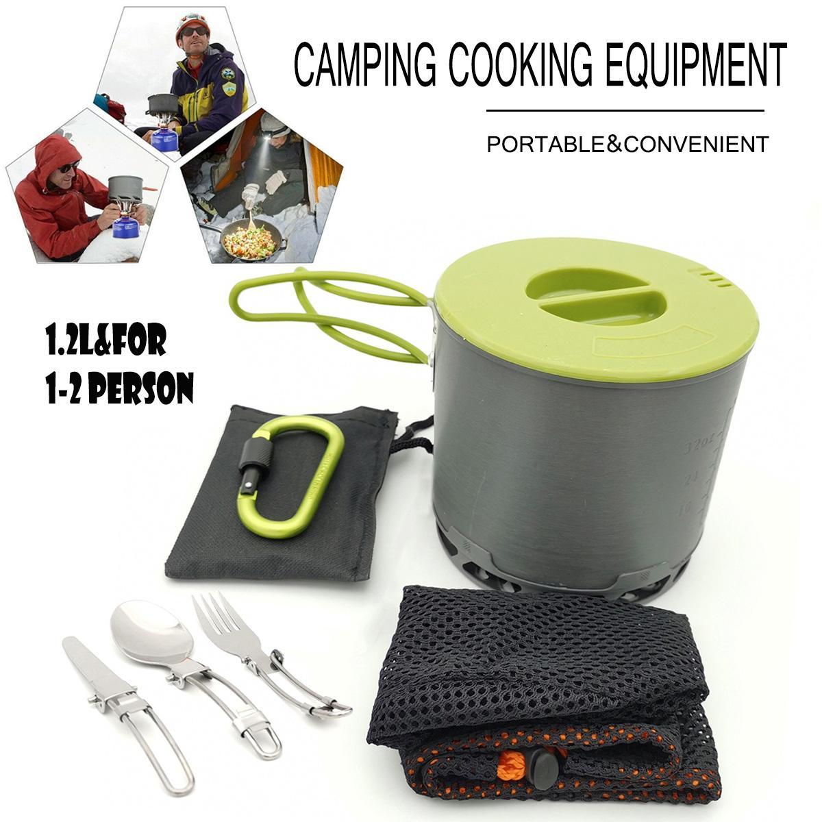 [해외]Outdoor Hiking Camping Cookware Set 1-2 Persons Portable Cooking Tableware Picnic Set Pot Pans BowlsDinnerware Carabiner/Outdoor Hiking Camping Co