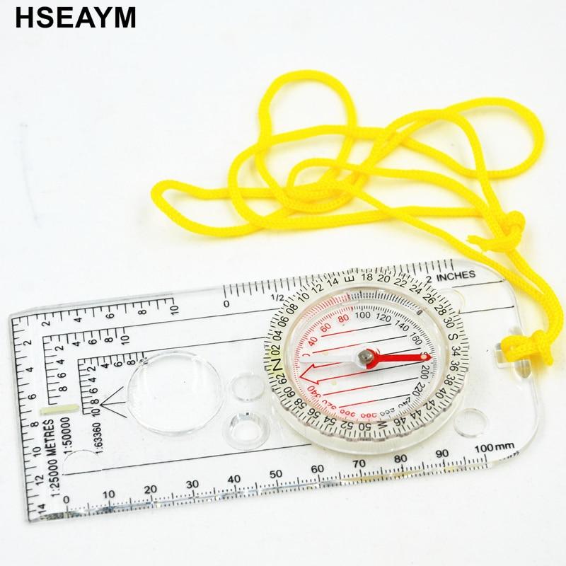 [해외]HSEAYM Professional Map Drawing Scale Compass Survival Tool Buckle Car Camping Hiking Pointing Guide Portable Handheld Compass /HSEAYM Professiona