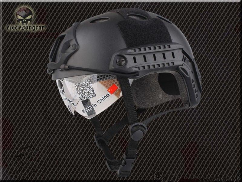 [해외]보호용 고글 pj 형 헬멧 군용 에어 소프트 블랙 em8819b 안전 및 생존자/보호용 고글 pj 형 헬멧 군용 에어 소프트 블랙 em8819b 안전 및 생존자