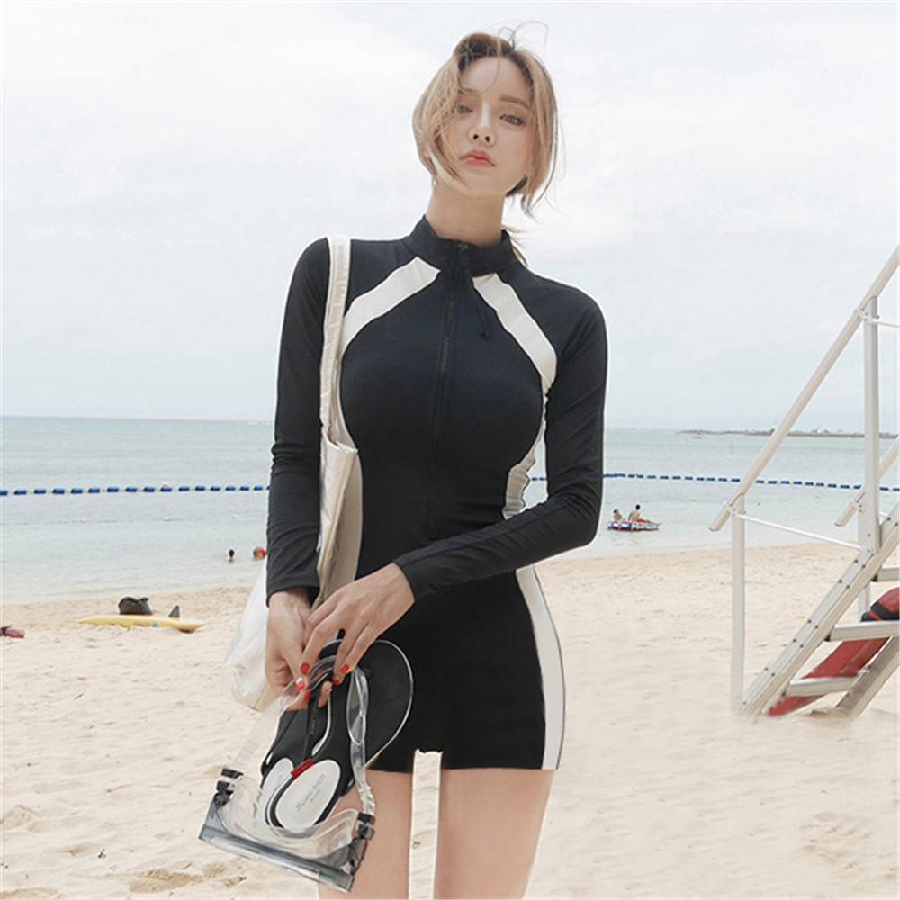 [해외]Long Sleeve Rash Guard Women Striped Patchwork One Piece Swimsuit Zipper Swimwear Shorts Surfing Suit High Neck Diving Clothes/Long Slee