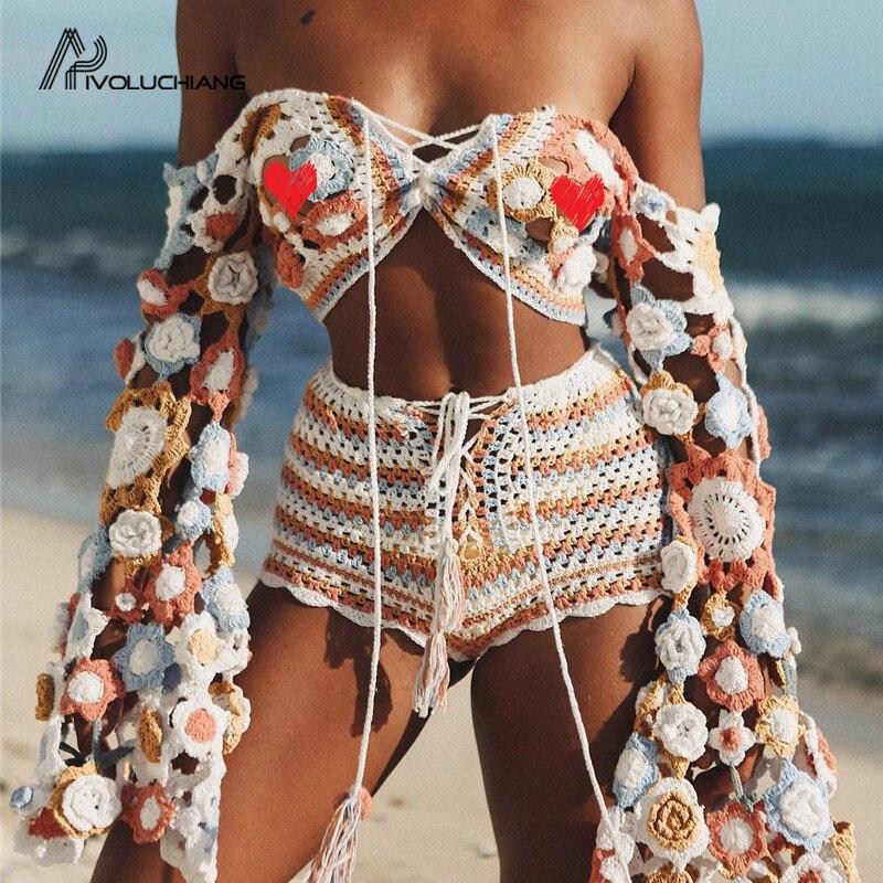 0b37654b4068e [해외]Sexy V Neck Crop Top Women Summer 2019 Handmade Crochet Long Sleeve  Beach