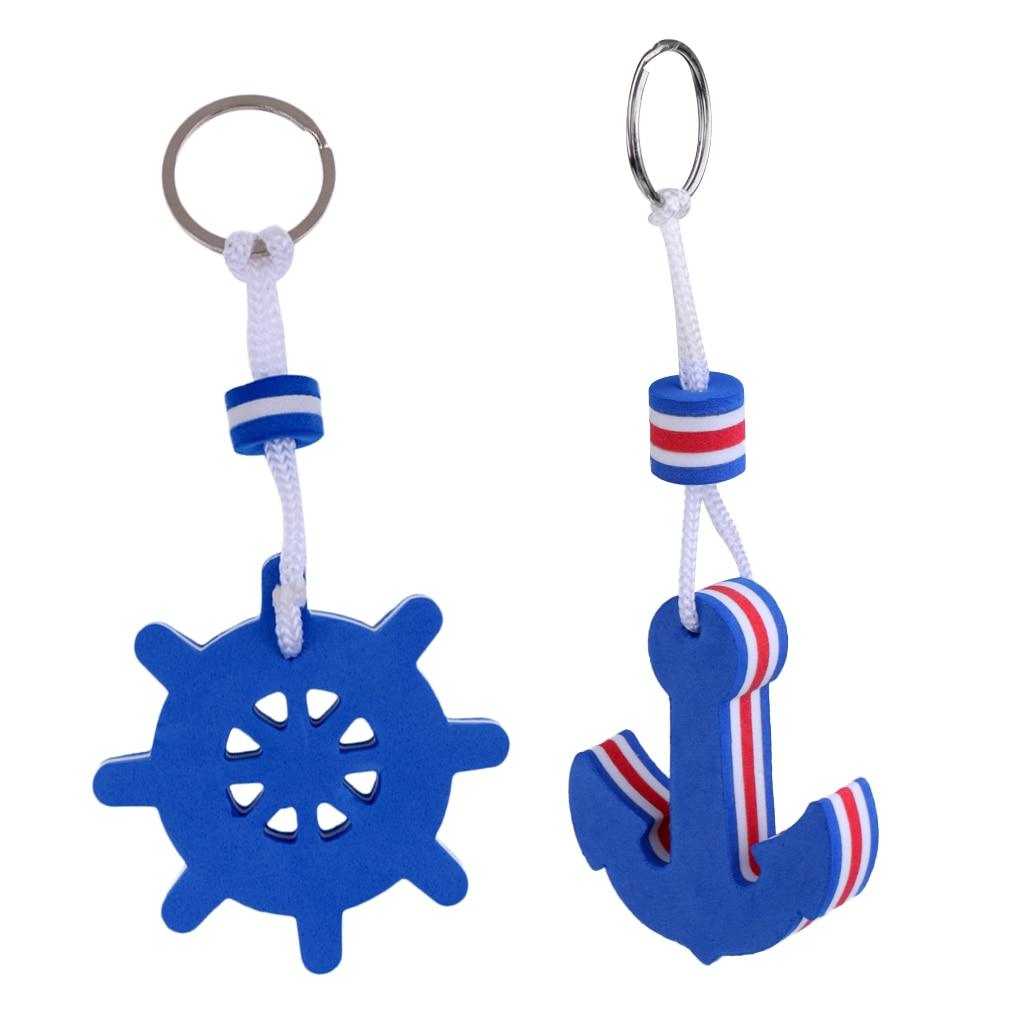 [해외]Hot 2019 2 Pieces Boating Fisherman Floating key Chain Marine Keychain Shoreline Sailboat - Anchor and Rudder Blue/Hot 2019 2 Pieces Boating Fishe
