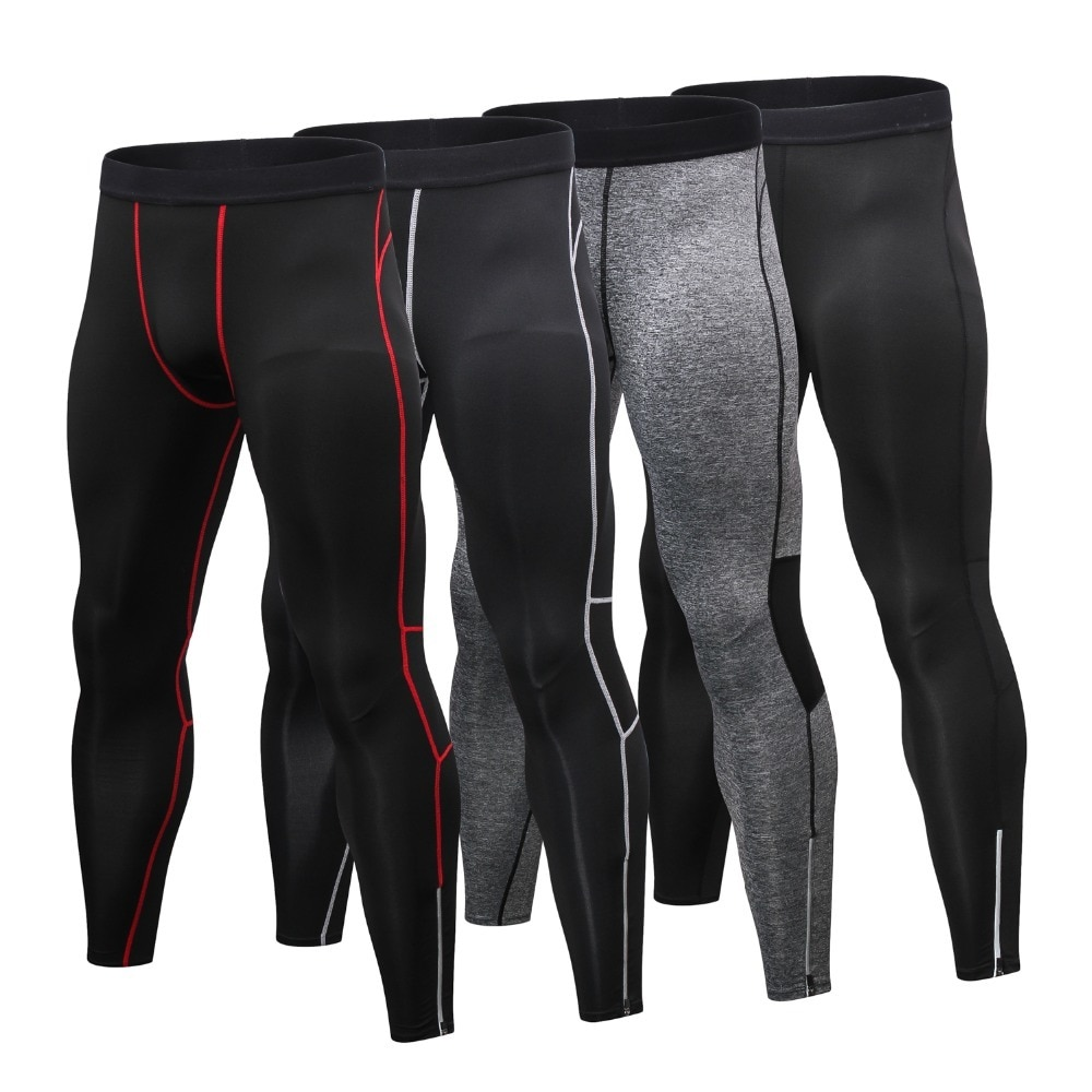 [해외]New Compression pants men sport Zipper Design Reflective Sport Pants Quick Dry Running tights men Workout Gym Fitness pants/New Compression pants
