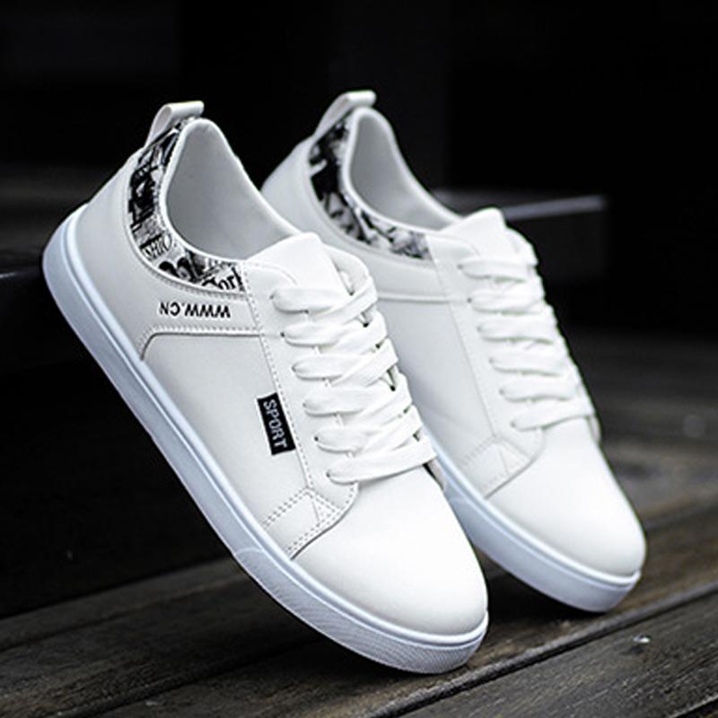 [해외]Men`s White Shoes Casual Skateboarding Shoes Low-top Leisure Sneaker Breathable Walking Shoes Flat Street Shoes Chaussure Homme/Men`s White Shoes