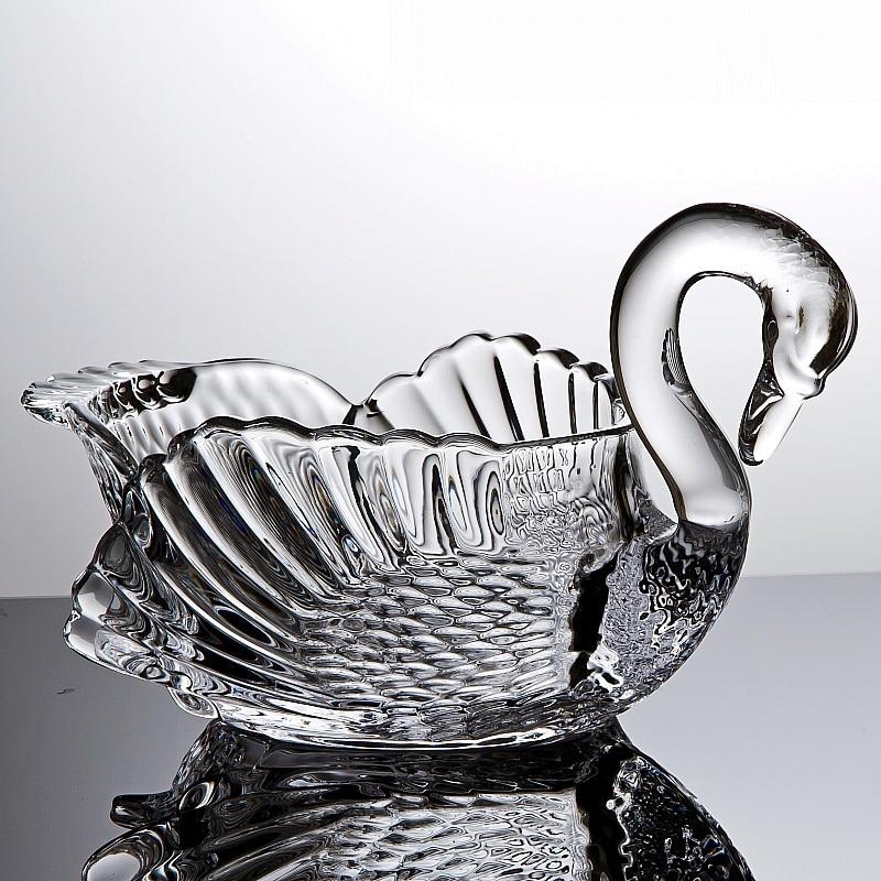 [해외]크리스탈 유리 백조 동상 과일 서빙 그릇 장식 스완 과자 저장 용기 선물 공예품 식기류 악세사리 악세사리/Crystal Glass Swan Statue Fruits Serving Bowl Decorative Swan Sweets Storage Jar Gift C