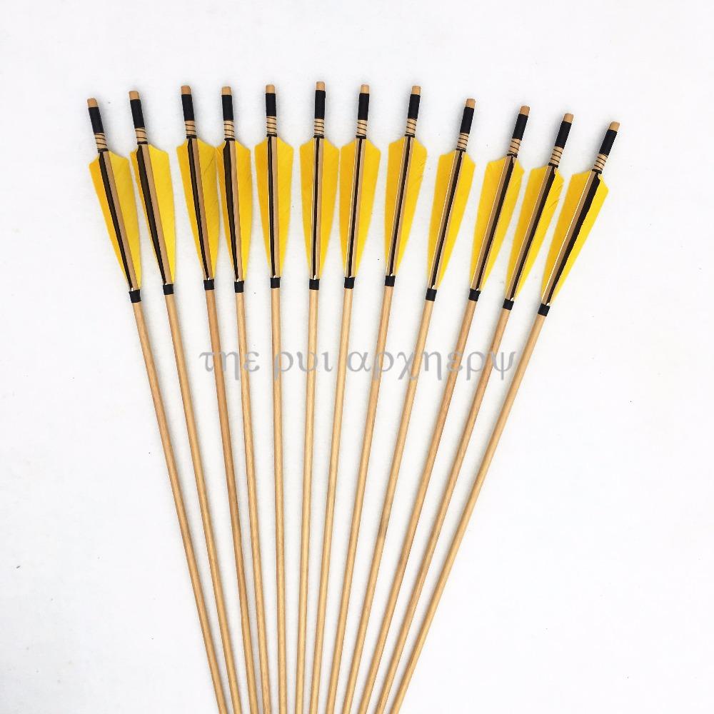 [해외]For Recurve BowsSliver Point shooting32inch 6/12/24pcs Handmade Wooden Arrows Archery Pheasant Feathers/For Recurve BowsSliver Point shooting32inc