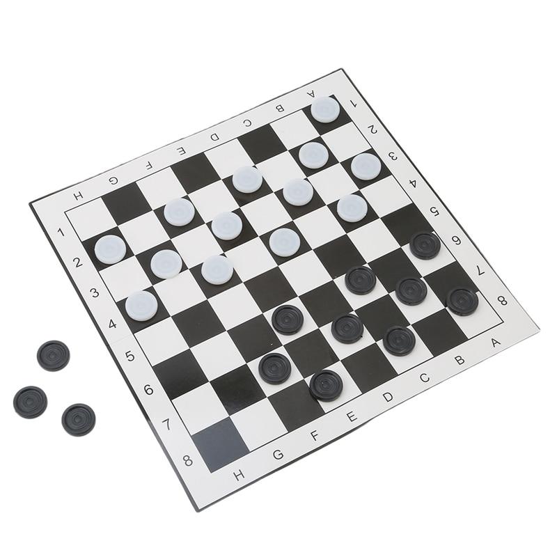 [해외]International Checkers Portable Folding Plastic Chess Game Board Size 33*33cm + 24pcs Chess/International Checkers Portable Folding Plastic Chess