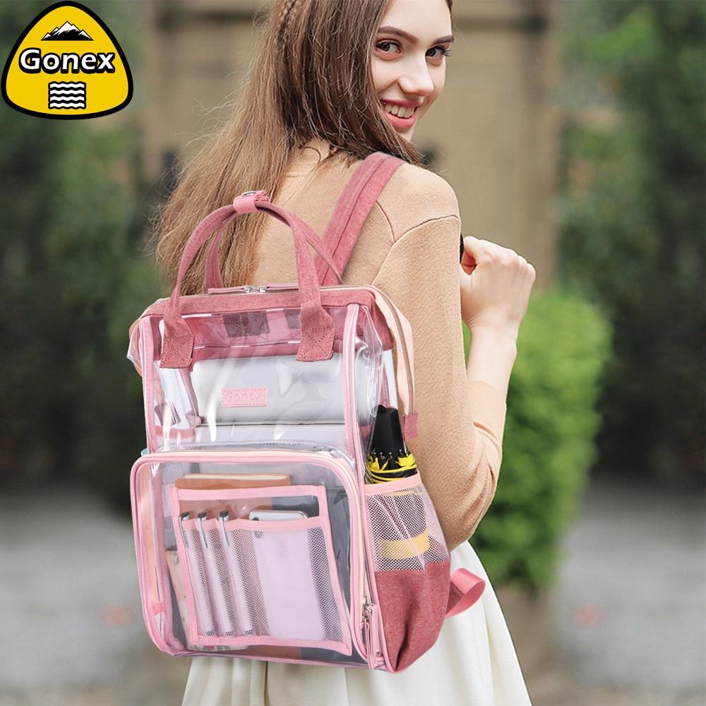 [해외]Gonex INS Style Clear Backpack PVC Transparent Shoulder Bag for Women Swimming Beach School Shopping Lady Pink Girlfriend Gift/Gonex INS Style Cle