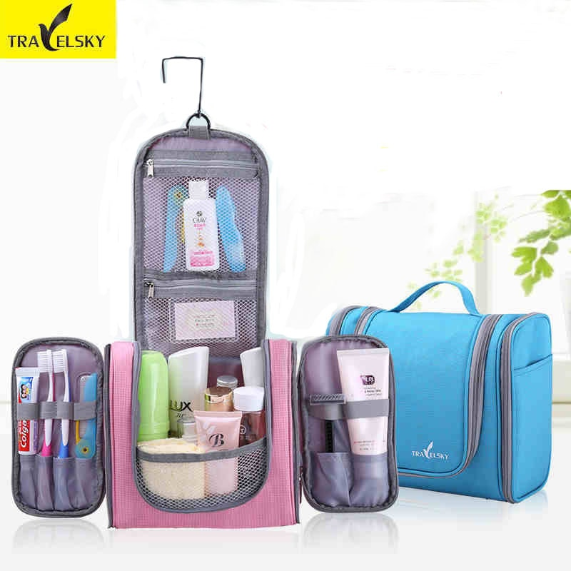[해외]/TRAVELSKY Makeup Bag Women&Men Large Capacity Wash Bag Travel Toilet Hanging Waterproof Ladies Cosmetic Case 13549